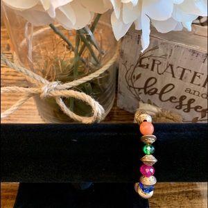 Pretty Multi-Colored Stretchy Bead Bracelet